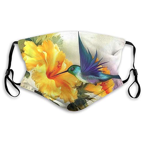 ETHAICO Comfortable Printed mask,Blue Hummingbird and Flower Painting,Windproof Facial Decorations for Unisex Adults