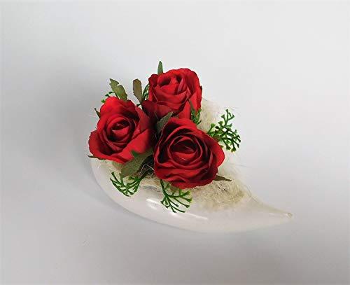 Keramikherz Blumengesteck Herz Keramik Tischgesteck Tischdeko Rosen Rosengesteck Kunstblume Dekoblume künstlich Kunst Blume unecht (rot)