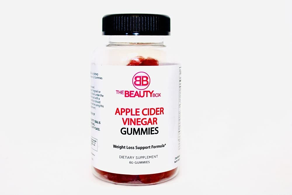 he Beauty Box Apple Cider Vinegar Gummies - ACV Supplement with Vitamin B12 for Energy, Immune Boost, Weight Loss - Natural, Gluten-Free, Non-GMO - Delicious ACV Gummy for Adults, Kids - 60 Count (1)