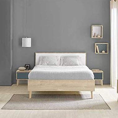 Tousmesmeubles Cadre + Tête de lit 180 * 200 cm Chêne Blond/Blanc - ESMEY - L 188 x l 208 x H 93 - Neuf