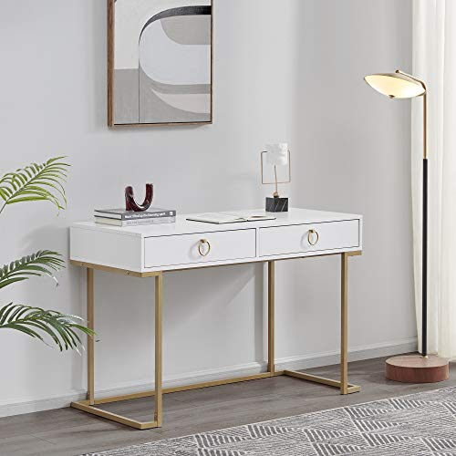 BELLEZE Modern Makeup Vanity Dressing Table or Home Office Computer Laptop Writing Desk with Two Storage Drawers, Wood Top, and Gold Metal Frame - Chelsea (Matt White)