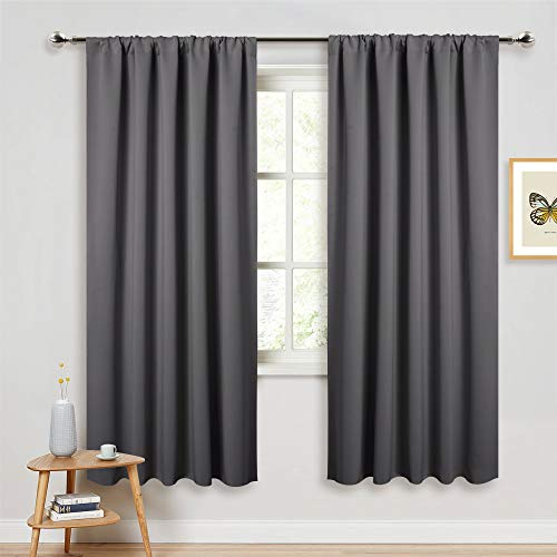 PONY DANCE Gray Blackout Curtains - Window Cover Double Panels Rod Pocket Drapes Light Blocking Drapes Thermal Insulated Privacy Protect for Living Room, 52 Wide by 72 Long, 2 Panels