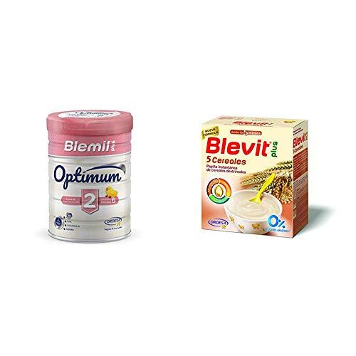 Blemil Plus Optimum 2, Leche de continuación para bebé - Pack de 2 x 800 g - Total: 1600 g + Blevit Plus 5 Cereales para bebé - Pack de 2 x 300 g - Total: 600 g