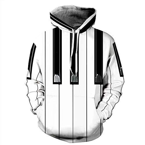 YLSMN Piano 3D Digitaldruck mit geometrischem Muster und Kapuze mit Langen Ärmeln L/XL 3D Prints Pullover Pullover Atmungsaktive Kapuzenpullis Gemusterte Sweatshirts L/XL
