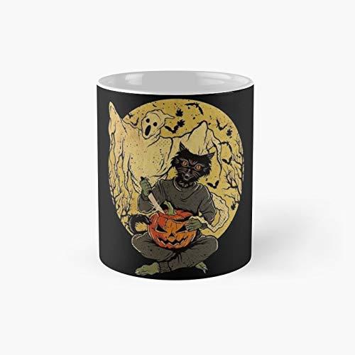 Taza clsica con diseo de gato negro con cuchillo de calabaza y fantasma | El mejor regalo divertidas tazas de caf de 325 ml