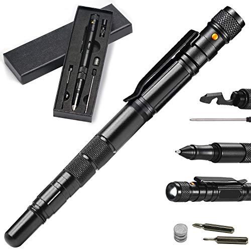 Hbsite 10 in 1 Tactical Pen, Multifunktions Taktischer Stift mit Taschenlampe und Schraubendreher, Multifunktionaler Werkzeugstift, Gadgets für Männer, Geschenke für Ehemann, Papa oder Opa