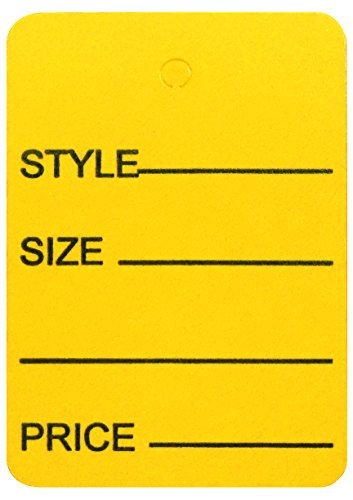 Amram Price Tags 1.25-in x 1.875-in Unstrung, Yellow, Printed Style; Size; Price, 1,000 Tags