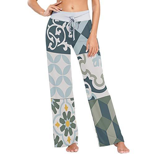 Vintage Fliesen drucken Damen Pyjama Bottoms Nachtwäsche Loose Palazzo Casual Drawstring Yoga Hosen - M.