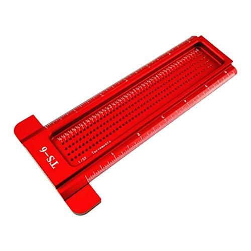 TISHITA Regla en T de posicionamiento de agujeros: regla en pulgadas, marcador de carpintería, regla de construcción, color rojo