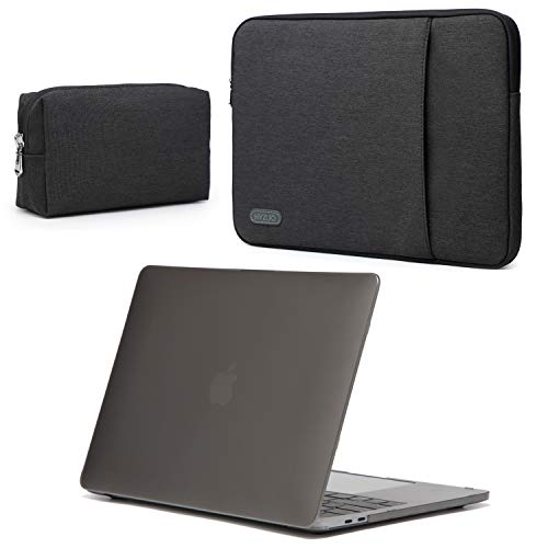 HYZUO 13 Inch Laptop Sleeve Bag Protective Case Cover Compatible with 2020 2019 2018 New MacBook Air 13 Retina A2179 A1932 with Frost Black Hard Shell Case and Accessories Pouch
