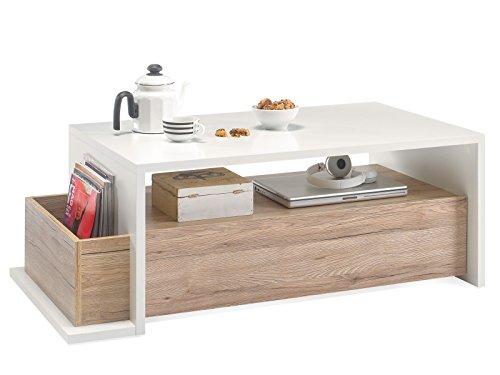 möbelando Couchtisch Wohnzimmertisch Beistelltisch Kaffeetisch Sofatisch Tisch Nele I San Remo/Weiß