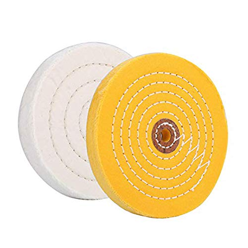 Extra Thick 6 inch Buffing Polishing Wheel Fine(White 90 Ply)Medium (Yellow 70 Ply)Polish Pad For Bench grinder With 1/2'Arbor Hole, 2 Pcs