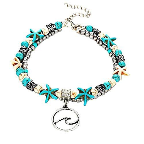 WSTERAO Blue Starfish Turtle Charm Multicapa Green Beach Joyería de pie Hecha a Mano Regalos, Multicapa Boho Starfish Turtle Tobillera Pulsera de mar con Cuentas Joyería de pie para Mujer