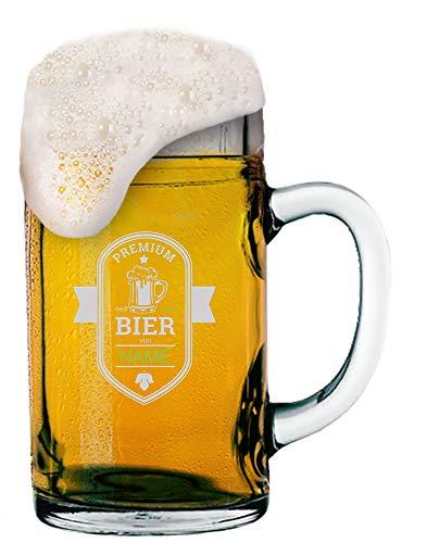 MeinGlas GmbH Jarra de cerveza de 1,0 l con logotipo (cerveza premium) y nombre y logotipo grabado personalizado, jarra de cerveza de 1 litro con diseño personalizado según sus indicaciones