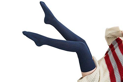 Knee High Socks 1 Paar Halten Overknee Strümpfe Stricken Sport Socken , Blau - one size