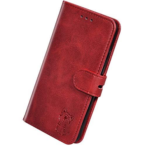 Herbests Kompatibel mit Huawei P30 Pro Hülle Klapphülle Leder Tasche Flip Schutzhülle Wallet Handyhülle 3D Cool Katze Brieftasche Klappbar Hülle Book Case Kartenfächer Magnetisch,Rot