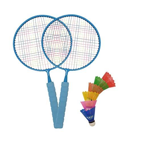 Macro - Juego de bádminton Gigante, con 2 Raquetas Azules y 2 pájaros, Juego para niños, Patio Trasero, Parque Infantil
