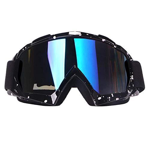 4-FQ Motocross Brille, Crossbrille, Hochwertige Motorradbrillen, ATV Dirt Bike Off Road Racing MX-Fahrbrille, Anti Fog UV Schutzbrille mit Double Lens Schaumstoffpolsterung (Schwarz-of)