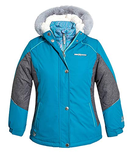 ZeroXposur Girls 3 in 1 Winter Jacket with Attached Hood and Adjustable Cuffs Winter Ski Coat (Calypso, X-Large)
