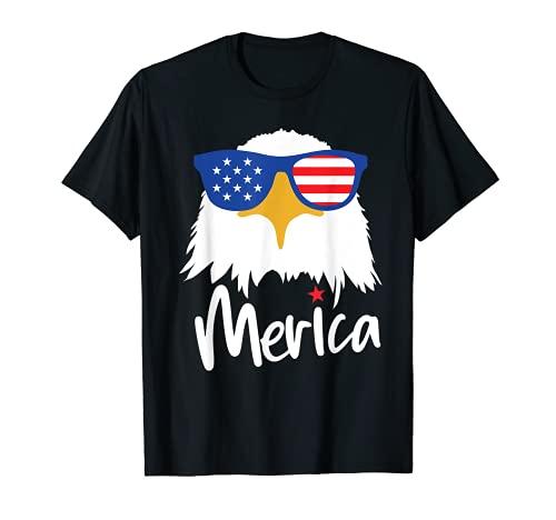 Merica 4 de julio Gafas de sol americanas Águila Hombres Camiseta