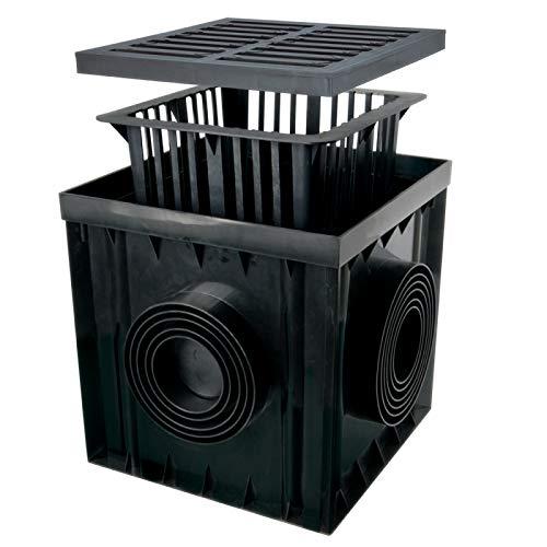 Verdone Hofablauf Gartenablauf schwarz Graphit PVC Gusseisen Gitter Bodenablauf Regenablauf (B125 12,5 Tonnen PP/Gusseisen Schwarz, 30x30x30 cm)