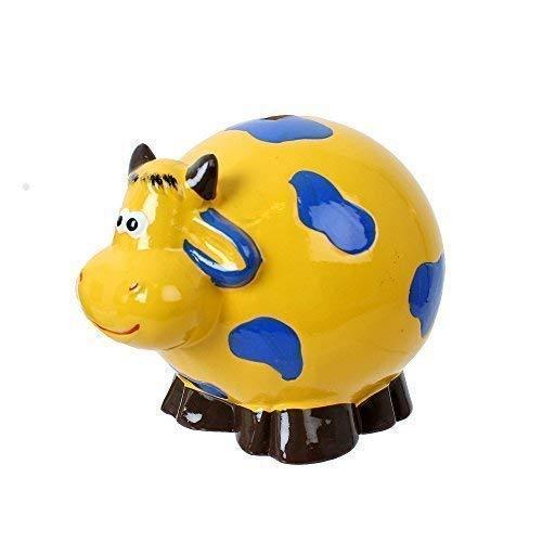 TE-Trend Kinder Sparbüchse Spardose Kuh Keramik Sparschwein in dekorativem Design 11 cm lang