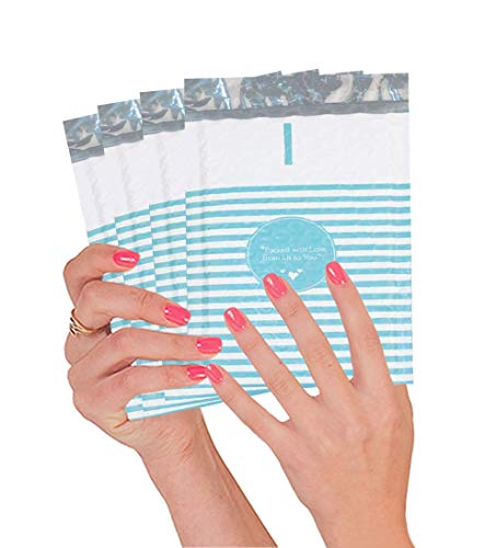 25 Pack Blue Stripes Poly Bubble Mailers 4 x 7. Padded Envelopes 4x7 Cushion Envelopes. Peel and Seal. Self-Sealing Laminated Shipping Bags for Mailing, Packing. Packaging in Bulk, Wholesale.