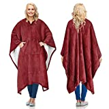 Sherpa Wearable Blanket Poncho for Adult Women Men, Wrap Blanket Cape with Pocket, Warm, Soft, Cozy, Snuggly, Comfort Gift, No Sleeves, Wine