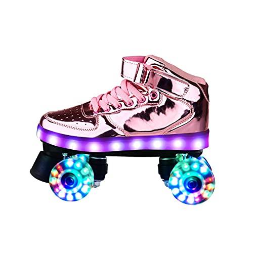 ZXSZX Rollschuhe Damen, Rollerskates Mädchen Roller Skates Mit LED-Licht Double Line Skates 4 Wheels Two Line Skating Schuhe Für Erwachsene,Pink-36