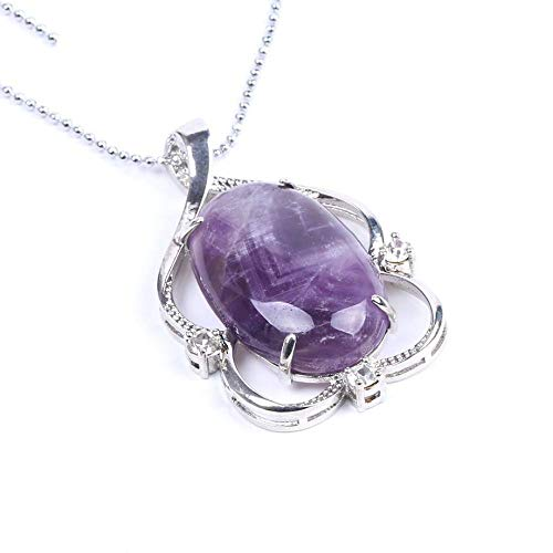 QUWE Stone Necklace,Elegant Hollow Amethyst Stone Pendant Silver Unisex Bead Chain Men Women Energy Balance Birthstone Gem Jewelry Gifts