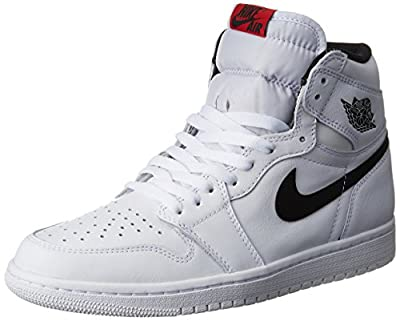 Nike Mens AIR JORDAN 1 RETRO HIGH OG, WHITE/BLACK-WHITE, 7