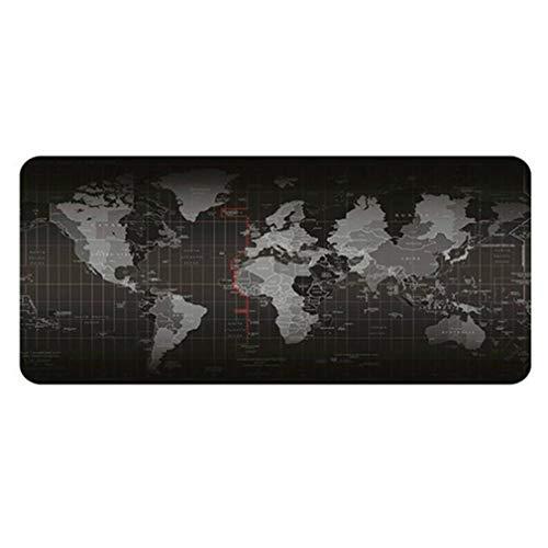 Wereldkaart Toetsenbordvergrendeling Extra groot Antislip muismat Toetsenbord Zwart zwart-grijs 400 × 900 × 2 mm