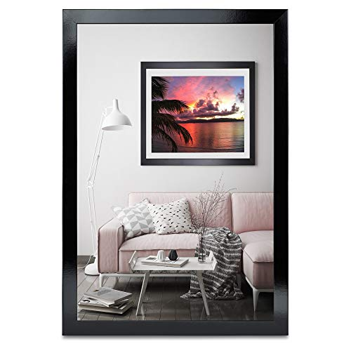 rahmengalerie24 Bilderrahmen 70x100 cm Rahmen Schwarz Glanz Holz Acrylglas ohne Passepartout Portraitrahmen Fotorahmen Wechselrahmen für Foto oder Bilder MDF Dekorahmen ohne Bild Alice
