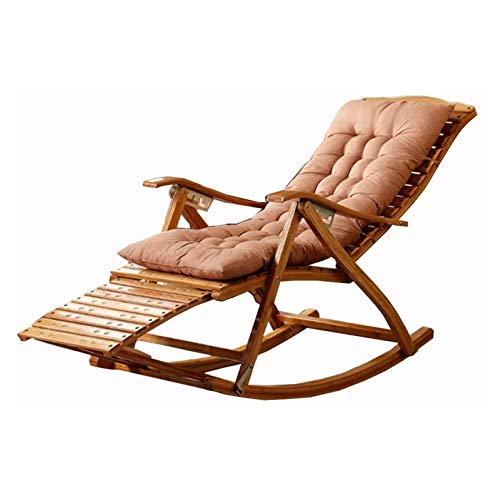 HIZLJJ Rocking Chair Adjustable Bamboo Leisure Deck Chair Portable Folding Chair Summer Outdoor Garden Chair with Foot Massage and Removable Cushion
