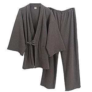 Japanese Style Men's Cotton Dressing Gown Gauze Kimono Pajamas-in Suit L