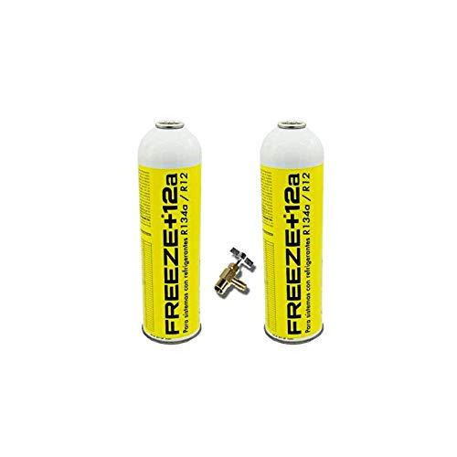 REPORSHOP - 2 Botellas Gas Ecologico Refrigerante Freeze +12a 420Gr + Valvula Organico Sustituto R12, R134A