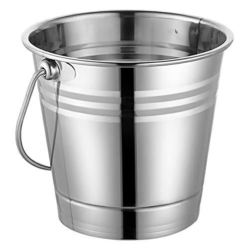 Houstool - Secchiello per acqua in acciaio inossidabile con manico in acciaio inox, isolato, secchiello per ghiaccio, secchiello per champagne e vino, colore: Argento