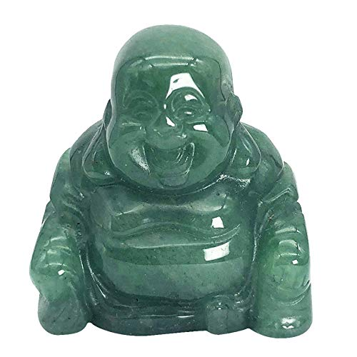Fekuar Green Aventurine Happy Buddha Statue, Hand Carved Maitreya Laughing Buddha Figurine Sculpture Pocket Healing Crystal 1.5'(40mm)