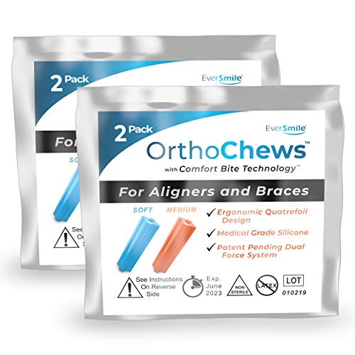 EverSmile OrthoChews Medical Grade Silicone Chew with Comfort Bite Technology | Dental Aligner Seater, Chewies for Invisalign, Clear or Metal Braces | Help to Seat your Aligner Trays (2 Pack)