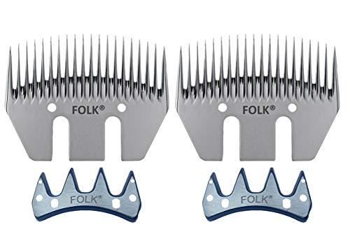 Kit de cuchilla y peine marca Folk, 20 dientes, 76 mm ancho para Esquilar Ovejas, cabras, caballos, mulos, perros (2)