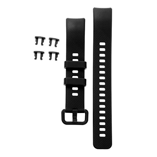 ABCD Soft Wristbands Colorful Sports Watch Band Replacement Strap Silicone for Honor Band 5 4(Black)