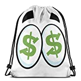 Drawstring Tote Bag Gym Bags Storage Backpack, Green Dollar Signs In Big Cartoon Eyes Greed For Money Penny Pincher,Very Strong Premium Quality Gym Bag for Adults & Children