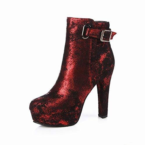Zapatos De Mujer - Europa Y Los Estados Unidos Botas De Invierno Botas De Mujer Botas Con Cremallera/Martin Botas De Tacón Alto De Espesor Con 36-43,rojo,39
