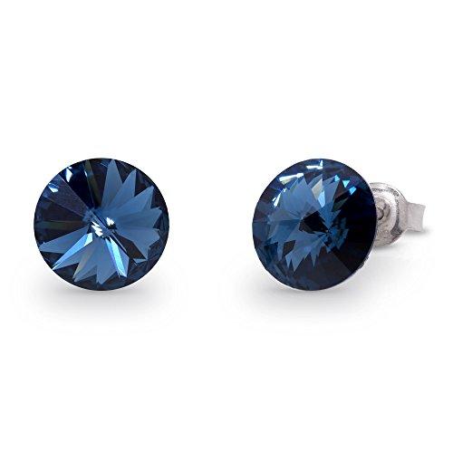Spark Swarovski Elements Damen Ohrstecker Sterling Silber 925, Swarovski Kristalle rund 8 mm dunkelblau