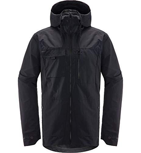 Haglöfs Regenjacke Herren Outdoorjacke Jägra Winddicht, Atmungsaktiv True Black XL