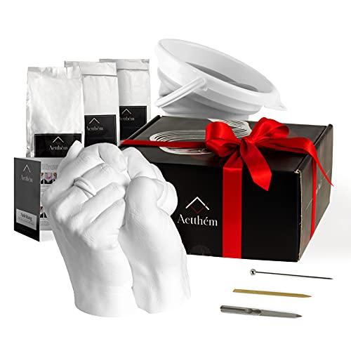 Aetthém® - 3D Handabdruck Set für Paare - MIT Falteimer, Feile & Stick- Gipsabdruckset Hände mit Alginat - Jahrestag Geschenk für Ihn und Sie - Partner Geschenke - Gipsabdruck Hände Paar & Pärchen