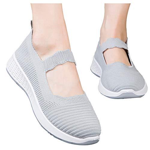 Verano 2021 Zapatillas Wallking Zapatos de Malla Transpirable de Aire Acolchado Señora, Zapatillas de Plataforma para Mujer Casual Zapatos Deporte Tenis Cómodos