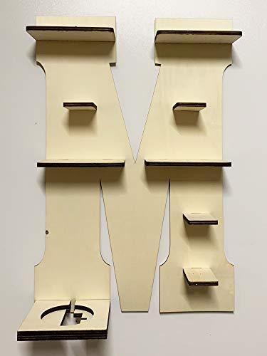 DIY Regal Buchstabe A-Z für die Musikbox passend für Toniebox Kinder Baby Zimmer zum selbst bemalen mit Wunschname tolles individuelles Geschenk zum Geburtstag zu Ostern Weihnachten (Buchstabe: M)