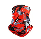 Breathable Neck Gaiter Face Cover Scarf Unisex Men Women,Balaclava Summer Fishing Running Hiking Mask Red