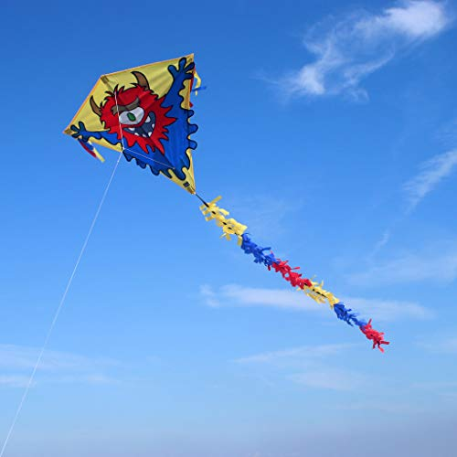 Wolkenstürmer Eddy Monster Kinderdrachen - 1-Leiner Flugdrachen mit Gestänge